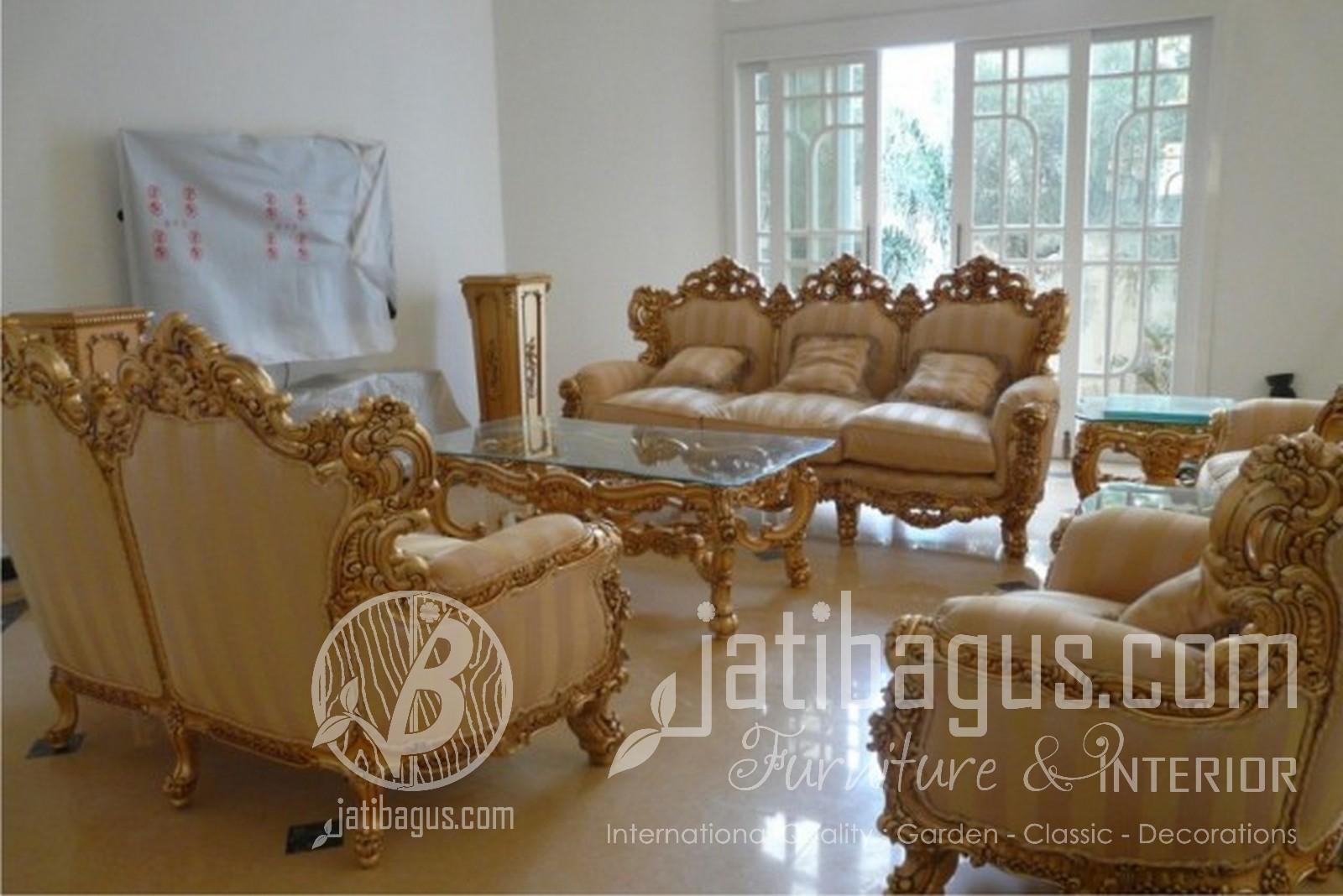 Jual Furniture Kursi Tamu Sofa Emas Mewah Jepara Ukir